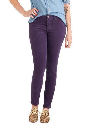 Jewel Be Surprised Pants in Amethyst by Dittos - Cotton, Purple, Solid, Skinny, Pockets, Casual, Fall, Long