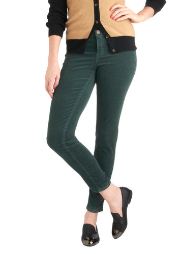 Jewel Be Surprised Pants in Emerald by Dittos - Cotton, Green, Solid, Pockets, Casual, Fall, Long, Skinny