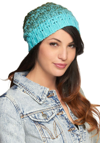 Ombre the Storm Hat - Green, Blue, Knitted, Casual, Winter, Holiday Sale