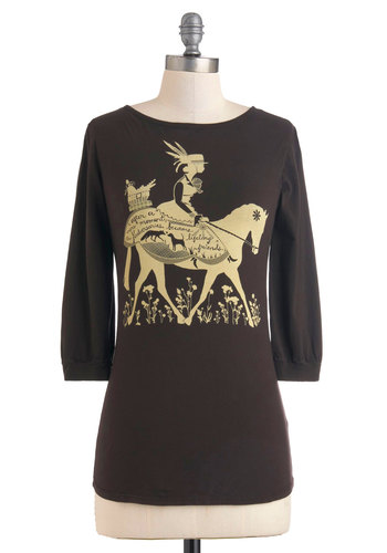 Life's a Joyride Top - Cotton, Brown, Tan / Cream, 3/4 Sleeve, Novelty Print, Casual, Mid-length