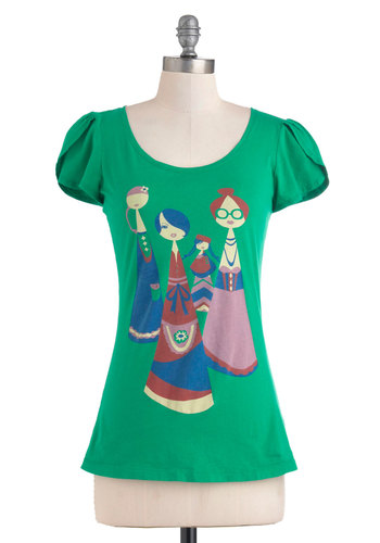 Four the Ladies Tee - Green, Blue, Pink, Cap Sleeves, Casual, Quirky, Mid-length, Cotton