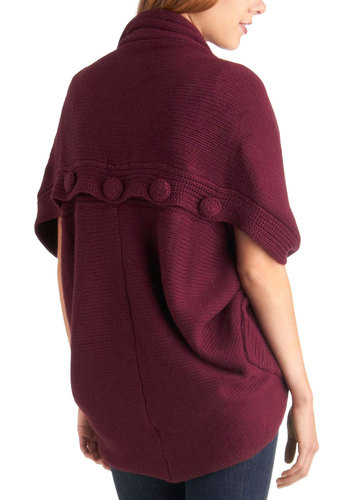 Yea or Cabernet Cardigan - Red, Solid, Buttons, Casual, Fall, Winter, Mid-length
