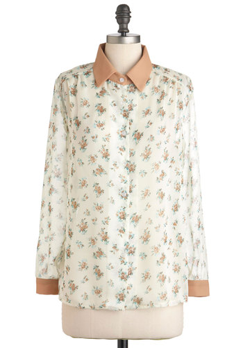 Forever Afternoon Top by Pink Martini - Sheer, Mid-length, Cream, Pink, Floral, Buttons, Long Sleeve, Button Down, Collared