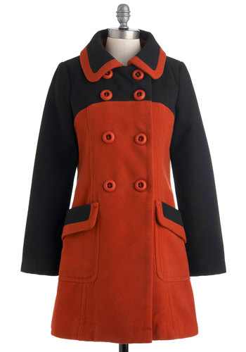 Ivy League Reunion Coat by Pink Martini - Long, Orange, Black, Buttons, Pockets, Long Sleeve, 3, Fall, Winter, Scholastic/Collegiate, Double Breasted, Colorblocking, Mod