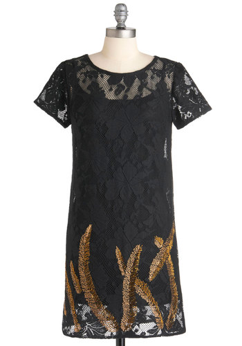 Leaves of Class Dress - Black, Gold, Party, Cocktail, Film Noir, Sheath / Shift, Short Sleeves, Short, Beads, Lace, Vintage Inspired, 20s, Sheer, Cotton
