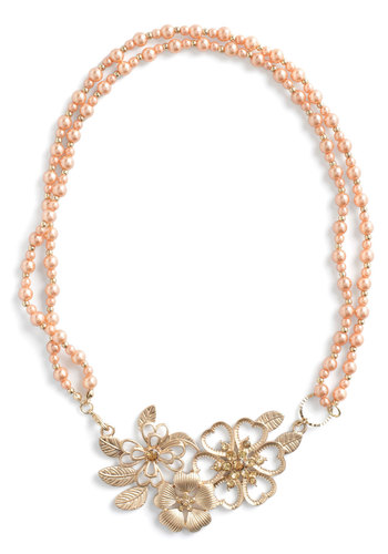 Pearly Bloomer Necklace - Orange, Gold, Solid, Beads, Rhinestones, Party, Vintage Inspired, Statement, Flower, Wedding