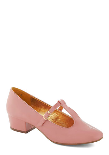 Presh is More Heel in Pink by Bait Footwear - Pink, Solid, Buckles, Work, Casual, Vintage Inspired, Low, Pastel, Faux Leather