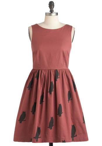 The Greatest Dress of Owl by Knitted Dove - Cotton, Mid-length, Pink, Brown, Print with Animals, Pockets, Casual, Owls, Fit & Flare, Sleeveless