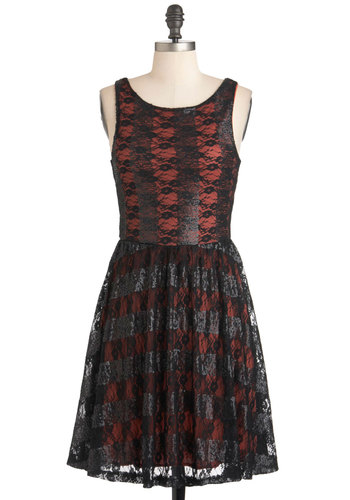 Framboise Fancy Dress - Black, Red, Lace, Sequins, Party, Film Noir, A-line, Sleeveless, Cocktail, Mid-length, Holiday Party, Fit & Flare, Tis the Season Sale