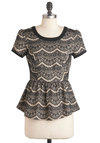 Qu'est Sara Sara Top in Black - Tan / Cream, Black, Print, Cutout, Cap Sleeves, Peplum, Mid-length, Lace, Party, Holiday Party, Black, Short Sleeve, Lace