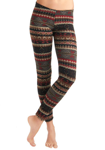 Ski Lodge Lovely Leggings - Multi, Red, Black, Grey, Casual, Vintage Inspired, 90s, Rustic