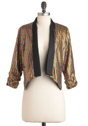 Bright This Way Jacket - Multi, Sequins, Party, 3/4 Sleeve, 1, 80s, Statement, Girls Night Out, Glitter, Cocktail, Holiday Party, Short