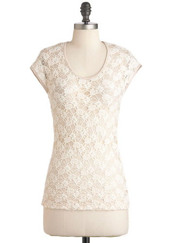 Piping on the Cake Top - Cream, Solid, Lace, Short Sleeves, Sheer, Work, Casual, Mid-length