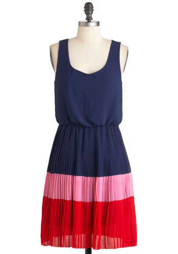 Tri It My Way Dress - Blue, Red, Pink, Pleats, Casual, Sleeveless, Colorblocking, Mid-length, Chiffon, A-line, Scoop, Summer