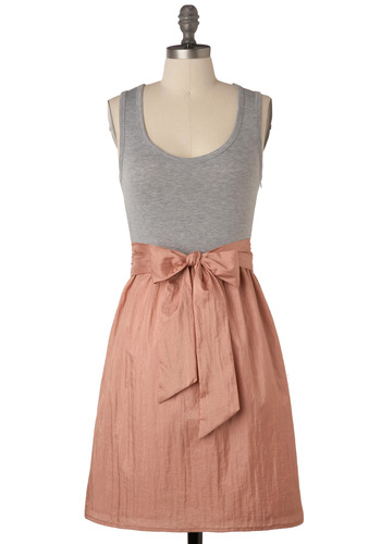 Rosé Dress - Bows, A-line, Tank top (2 thick straps), Grey, Party, Twofer, Summer, Tan, Pink, Mid-length, Belted, Scoop