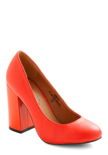 Tangelo and Behold Heel - Solid, Mid, Party, Work, Pinup, Vintage Inspired, Chunky heel, Tis the Season Sale, Coral, Neon, Press Placement