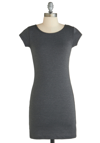 Sample 2253 - Grey, Solid, Cutout, Bodycon / Bandage, Short Sleeves