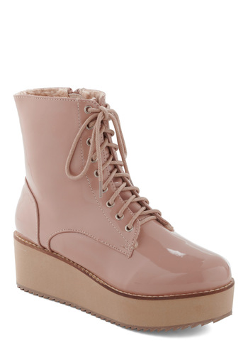 Marching in Rose Boot - Pink, Solid, Party, Casual, 90s, Statement, Platform, Pastel, Lace Up, Low, Wedge