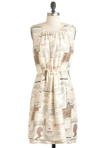 Novel Belle Dress by Nice Things - Mid-length, Cream, Print, Sheath / Shift, Sleeveless, Spring, Novelty Print, French / Victorian, International Designer