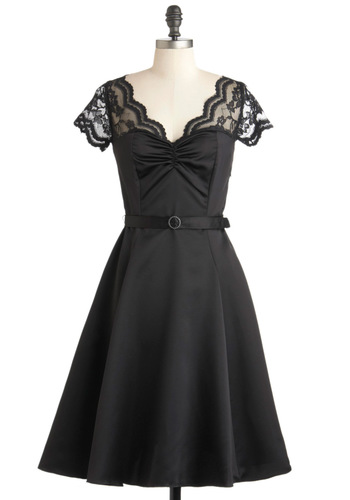 Black Tie Optimal Dress - Long, Sheer, Black, Solid, Lace, Belted, Formal, Film Noir, A-line, Short Sleeves, Vintage Inspired, Cocktail, Fit & Flare, Sweetheart, 60s, Variation, Wedding, Bridesmaid