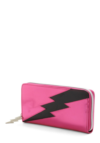 Betsey Johnson Bolt Me to the Ball Wallet by Betsey Johnson - Pink, Black, Novelty Print, Statement
