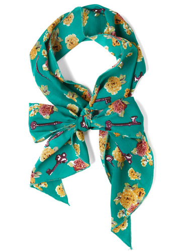 Head, Shoulders, Keys, and Toes Scarf - Green, Multi, Floral, Print