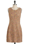 Worn Into Office Dress - Tan, Multi, Work, Vintage Inspired, Sheath / Shift, Sleeveless, Fall, Short, Pastel