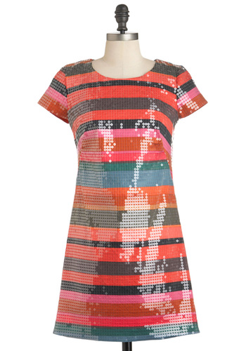 Shift for the Better Dress by Corey Lynn Calter - Cotton, Short, Orange, Multi, Stripes, Sequins, Party, Sheath / Shift, Short Sleeves, Vintage Inspired, Mod, Cocktail