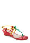 Dancing by Myself Sandal - Pink, Multi, 80s, Wedge, Mid, Yellow, Green, Casual, Colorblocking, Summer, Beach/Resort