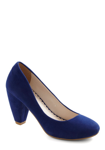 Just Won't Quit Heel - Blue, Solid, Mid, Party, Work, Vintage Inspired, Fall