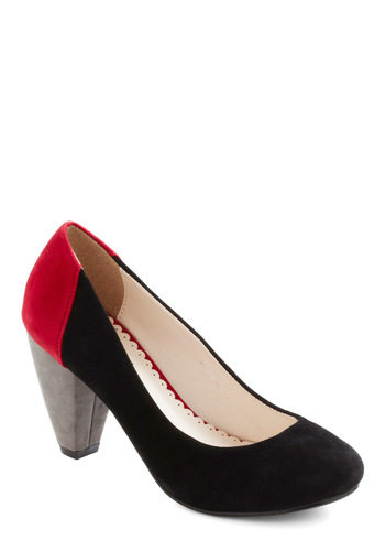 New Colors on the Block Heel - Black, Red, Mid, Colorblocking, Party, Work, 80s, Holiday Party, Faux Leather, Chunky heel