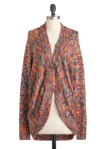 Close Knit Club Cardigan - Orange, Blue, Purple, Knitted, Long Sleeve, Casual, Folk Art, Rustic, Fall, Winter, Long