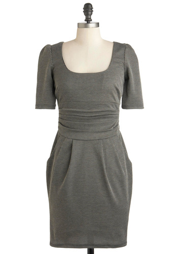 Just Can't Wheat Dress - Mid-length, Grey, Exposed zipper, Pockets, Work, Shift, Short Sleeves, Scholastic/Collegiate, Solid, Scoop, Winter