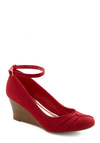 Beets Me Wedge - Red, Pleats, Mid, Wedge, Buckles, Party, Casual, Vintage Inspired, Holiday Party, Faux Leather, Pinup