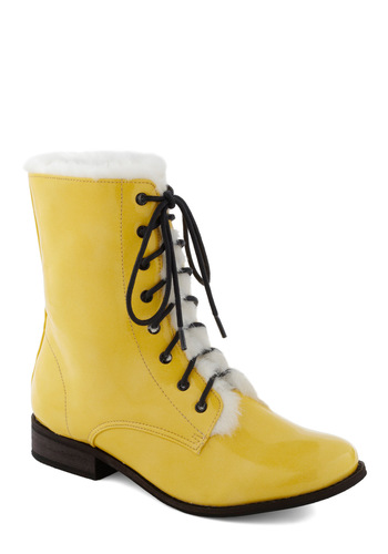 Blizz Lemon Boot - Low, Faux Leather, Yellow, Black, White, Casual, 90s, Winter, Lace Up, Holiday Sale