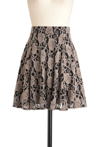 Demure Meets Daring Skirt - Mid-length, Grey, Black, Floral, A-line, Party