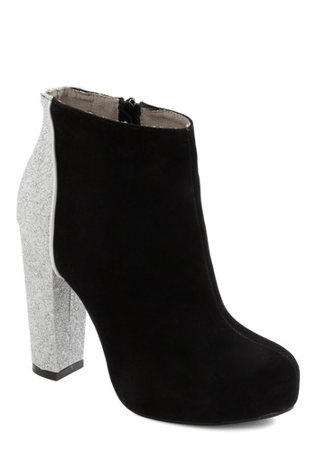 Glitz Your Groove On Bootie - Black, Silver, Glitter, Girls Night Out, Statement, High, Holiday Party