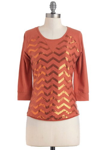 Post-Game Party Top - Cotton, Mid-length, Jersey, Sequins, 3/4 Sleeve, Orange, Solid, Casual, Fall, Girls Night Out, Holiday Party