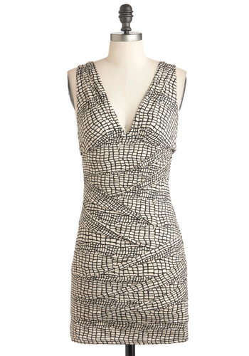 Believe It or Net Dress - Tan / Cream, Party, Girls Night Out, Bodycon / Bandage, Sleeveless, Short, Jersey, Print, Cocktail, V Neck, Black