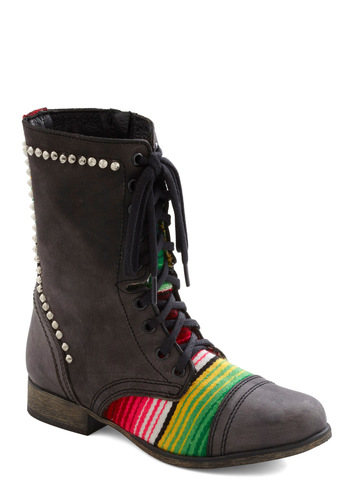 Meet for Margaritas Boot by Steve Madden - Black, Multi, Stripes, Studs, Lace Up, Leather, 90s, Low