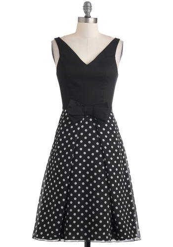 Train of Dot Dress - Black, White, Polka Dots, Bows, Party, A-line, Sleeveless, Long, Cotton, Fit & Flare, V Neck