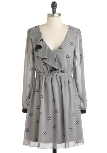 Paper and Penguins Dress by Sugarhill Boutique - Short, Chiffon, Grey, Black, Print with Animals, Casual, Sheath / Shift, Long Sleeve, Winter, White, Ruffles, International Designer