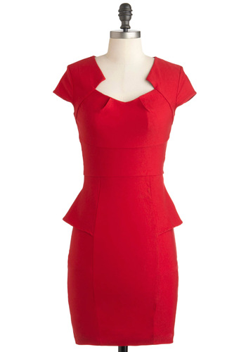 Sheath's Got the Look Dress - Red, Solid, Work, Vintage Inspired, Peplum, Cap Sleeves, Mid-length, Party, Pinup