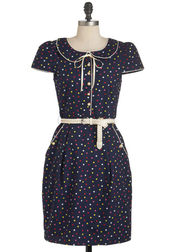 Social Buttercup Dress in Candy Dots by Trollied Dolly - Blue, Polka Dots, Vintage Inspired, Short Sleeves, Belted, Cotton, Mid-length, Multi, Buttons, Peter Pan Collar, Pockets, Work, Shift, Holiday Sale, Collared, International Designer