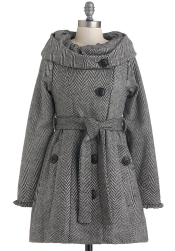 Be-tweed You and Me Coat by Knitted Dove - Long, Black, White, Buttons, Belted, Long Sleeve, 3, Party, Vintage Inspired, 50s, Fall, Winter