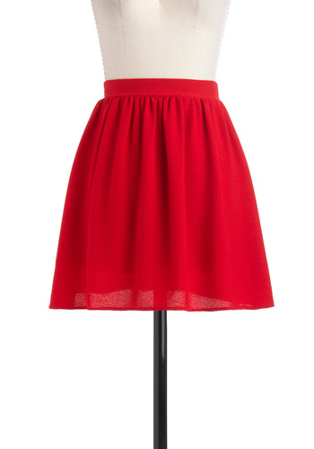Pimento to Be Skirt - Short, Red, Solid, A-line, Party, Casual, Fall
