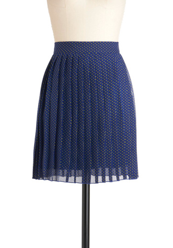 Drop of Lemon Skirt - Blue, Polka Dots, Pleats, A-line, Short, Yellow, Work, Casual