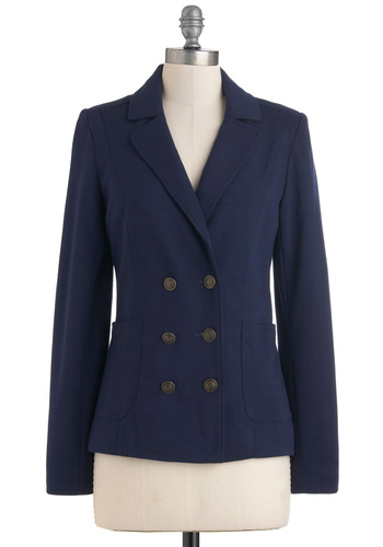 Nautical Me Maybe Blazer - Blue, Solid, Buttons, Pockets, Work, Casual, Menswear Inspired, Long Sleeve, Mid-length, Scholastic/Collegiate, Double Breasted, 1, Nautical