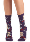 Toe-meo and Juliet Socks - Purple, Multi, Casual, Quirky, Scholastic/Collegiate, Knitted