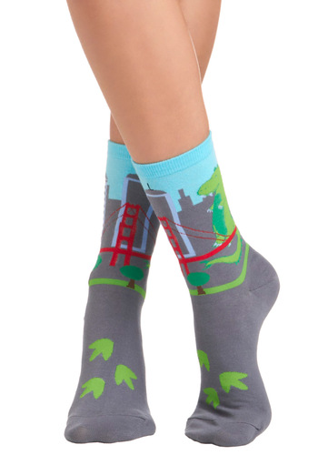 Aprille's City Style Socks - Grey, Multi, Print with Animals, Novelty Print, Casual, Kawaii, Quirky, Knitted